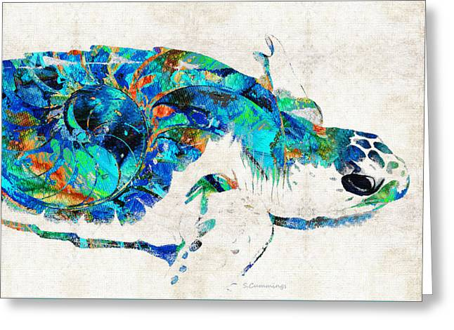 Blue Sea Turtle By Sharon Cummings  Greeting Card
