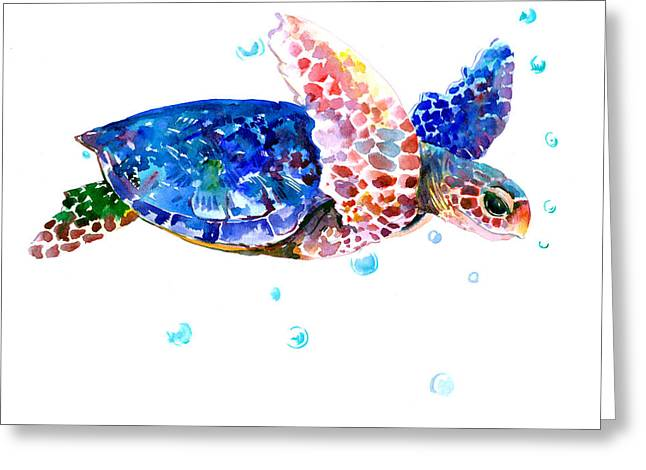 Blue Sea Turtle Greeting Card