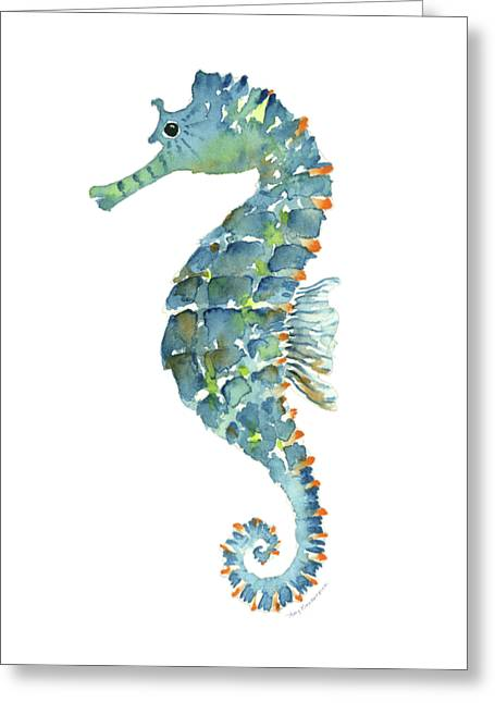 Blue Seahorse Greeting Card by Amy Kirkpatrick