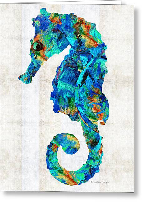 Blue Seahorse Art By Sharon Cummings Greeting Card