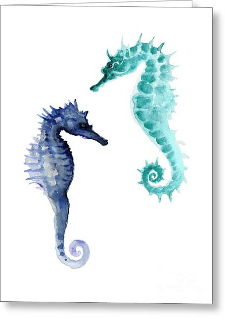 Blue Seahorses Watercolor Painting Greeting Card by Joanna Szmerdt