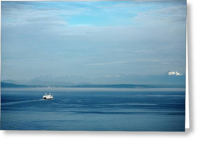 Blue Seattle Greeting Card by Susan Stone