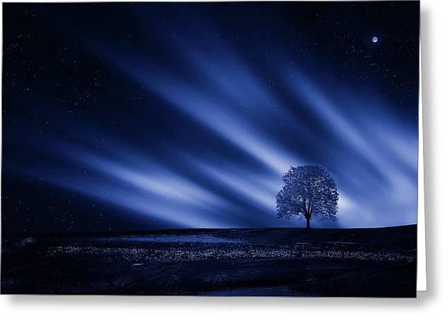 Blue Serenity Greeting Card by Bess Hamiti