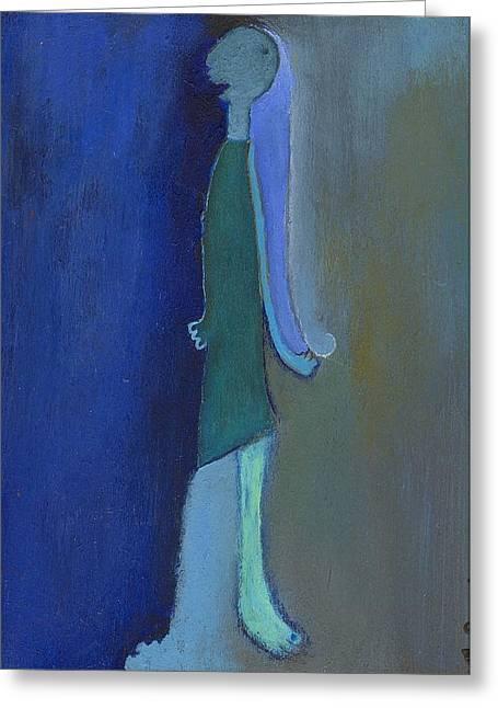 Blue Shadow Greeting Card by Ricky Sencion