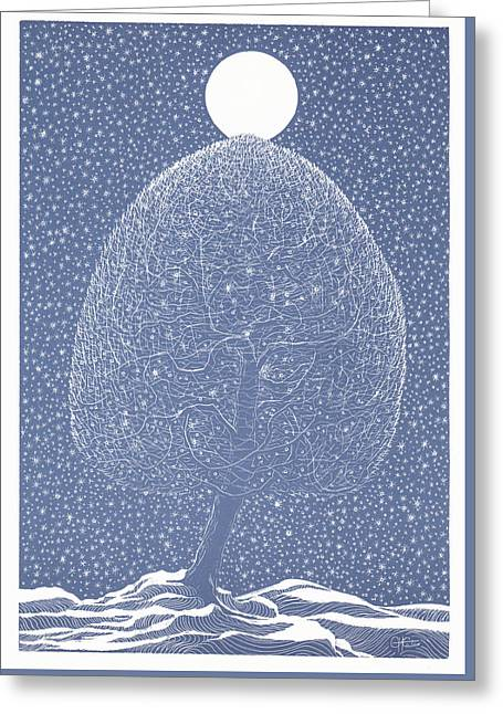 Blue Shadow Tree Greeting Card by Charles Cater