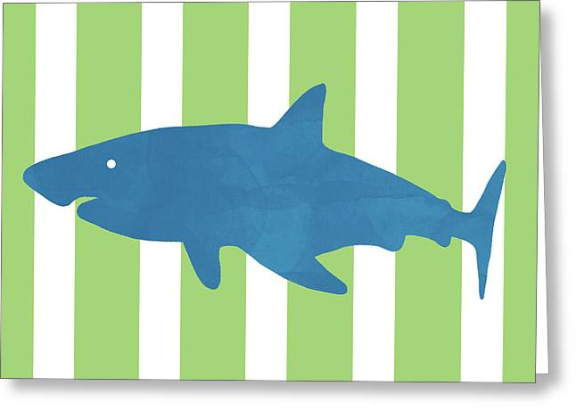 Blue Shark 1- Art By Linda Woods Greeting Card
