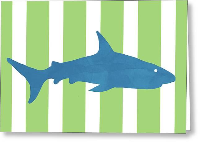 Blue Shark 2- Art By Linda Woods Greeting Card