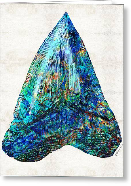 Blue Shark Tooth Art By Sharon Cummings Greeting Card