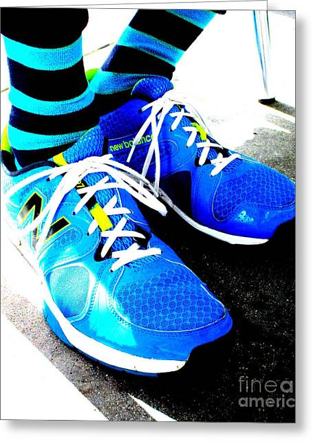 Blue Shoes And Socks Greeting Card by Randall Weidner