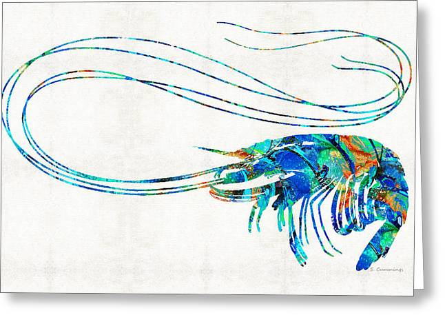 Blue Shrimp Art By Sharon Cummings Greeting Card