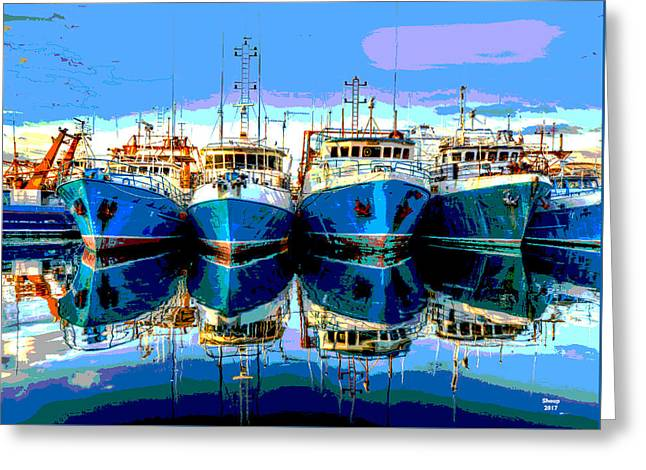 Blue Shrimp Boats Greeting Card by Charles Shoup