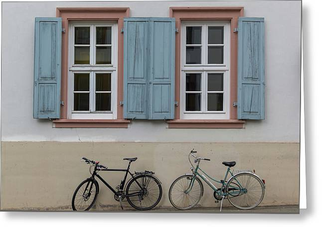 Blue Shutters And Bicycles Greeting Card