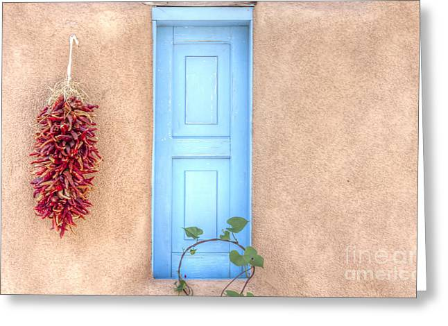 Blue Shutters And Chili Peppers Greeting Card