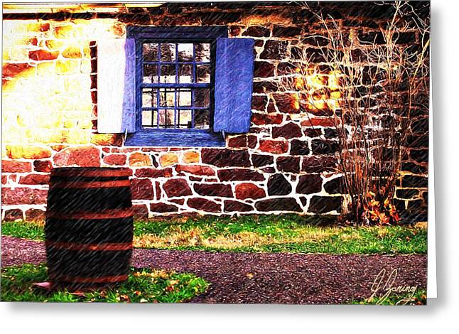 Blue Shutters And Spring Rain Greeting Card by Joshua Zaring