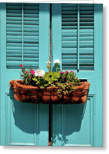 Blue Shutters Greeting Card