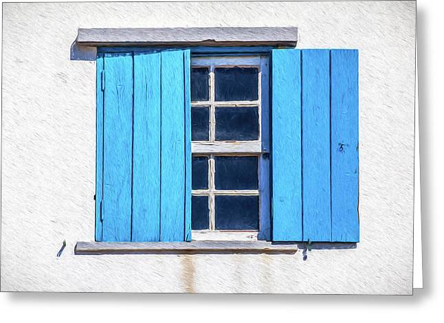 Blue Shutters Of Peniche Greeting Card