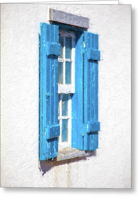 Blue Shutters Of Portugal Greeting Card