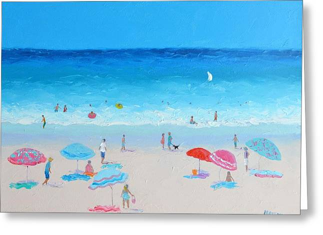 Blue Skies Beach Painting Greeting Card by Jan Matson
