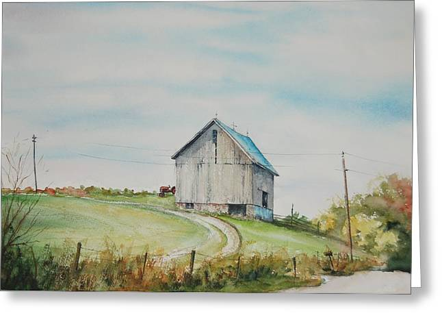Indiana Autumn Paintings Greeting Cards - Blue Skies Greeting Card by Mike Yazel
