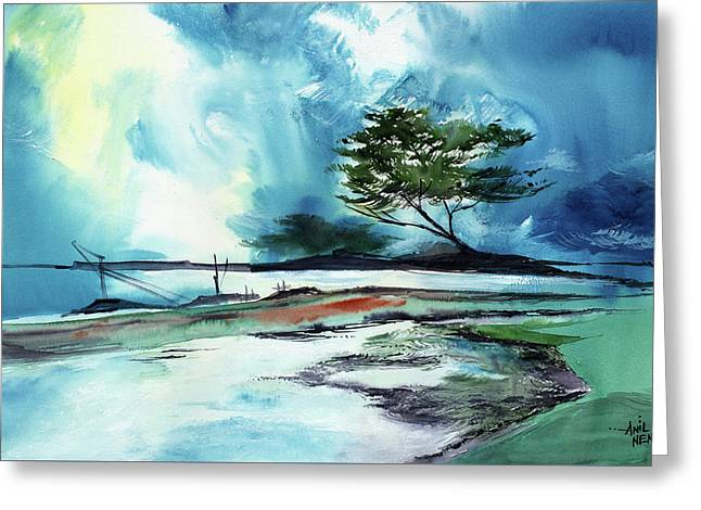 Greeting Card featuring the painting Blue Sky by Anil Nene