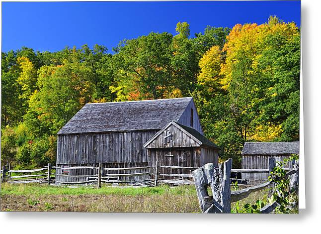 Blue Sky Autumn Barn Greeting Card