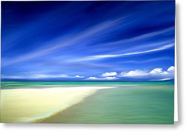 Blue Sky Beach Greeting Card by Anthony Fishburne
