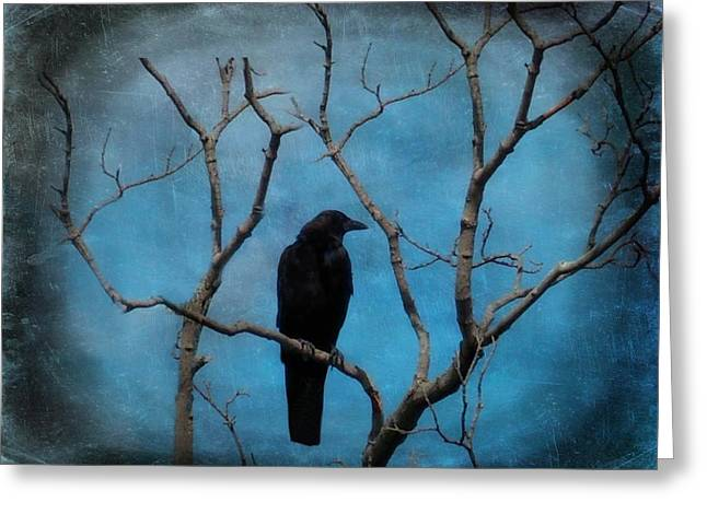 Blue Sky Blackbird Greeting Card by Gothicrow Images