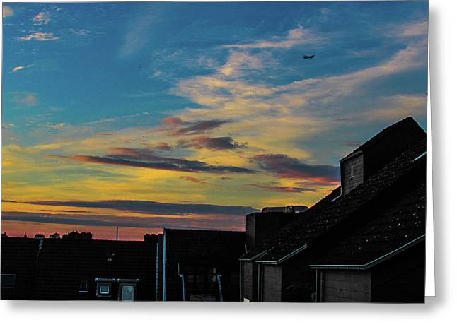 Blue Sky Colorful Sunset Greeting Card by Cesar Vieira