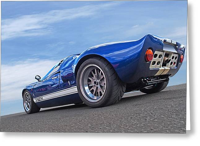 Blue Sky Day - Ford Gt 40 Greeting Card by Gill Billington