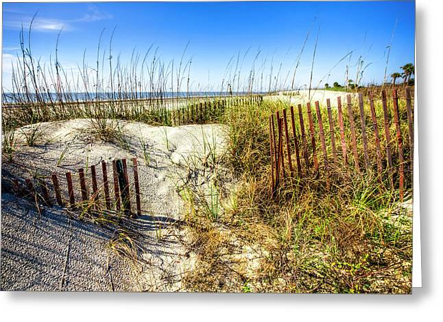 Greeting Card featuring the photograph Blue Sky Dunes by Debra and Dave Vanderlaan