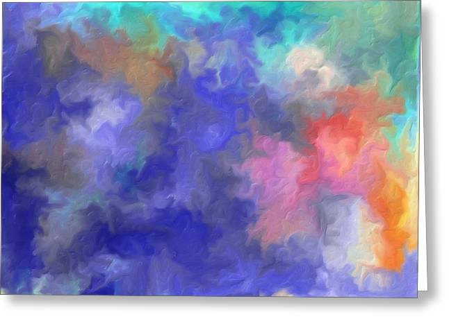 Oil Slick Greeting Cards - Blue Sky Painting Greeting Card by Don  Wright