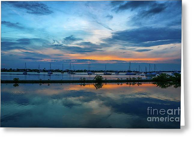 Blue Sky Sunset Greeting Card by Tom Claud
