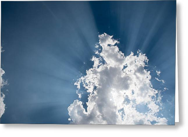 Greeting Card featuring the photograph Blue Sky With White Clouds And  Sun Rays by Michalakis Ppalis