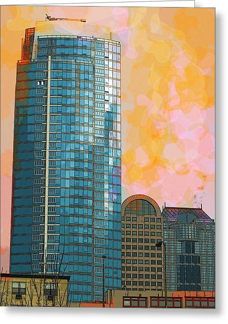 Greeting Card featuring the photograph Blue Skyscraper Seattle by Yulia Kazansky