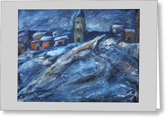 Blue Snow City Greeting Card