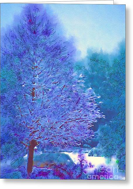 Blue Snow Scene Greeting Card