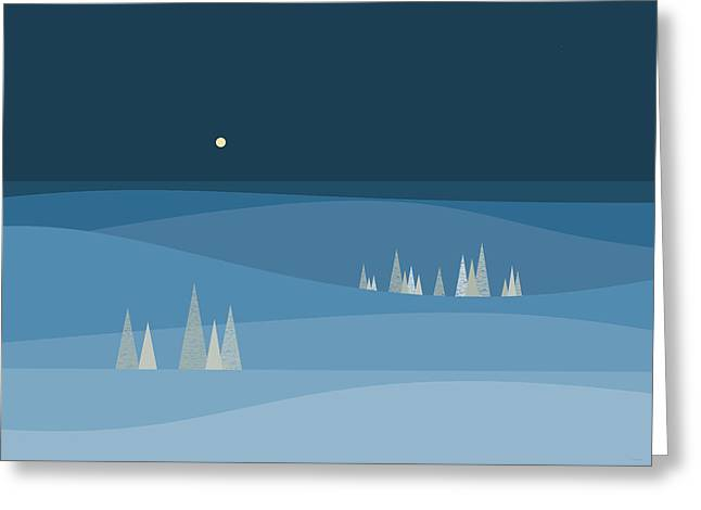Blue Snow Greeting Card