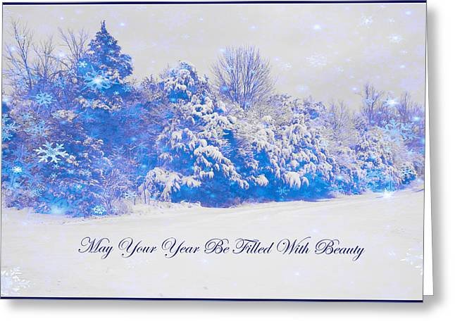 Blue Snowy Christmas Scene Greeting Card by Angela Comperry