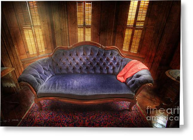 Blue Sofa Den Greeting Card by Craig J Satterlee