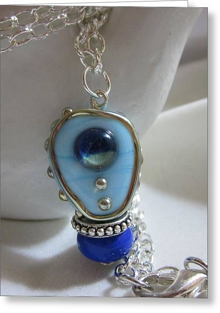 Lampwork Greeting Cards - Blue Space Necklace Greeting Card by Janet  Telander