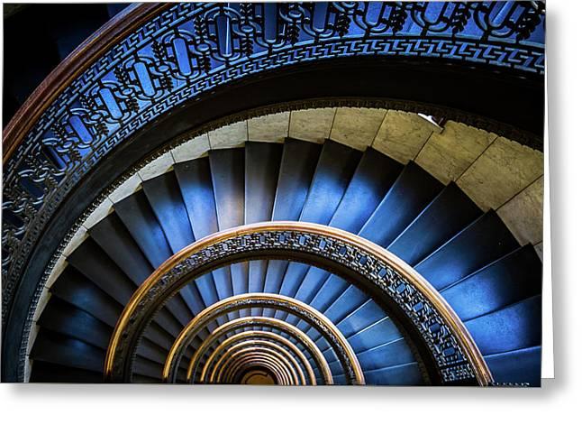 Blue Spiral Greeting Card by John Duffy