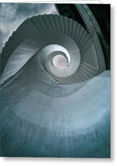 Greeting Card featuring the photograph Blue Spiral Stairs by Jaroslaw Blaminsky