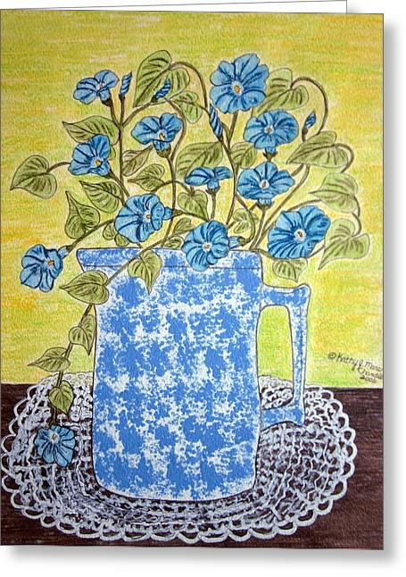 Greeting Card featuring the painting Blue Spongeware Pitcher Morning Glories by Kathy Marrs Chandler
