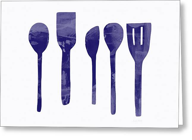 Blue Spoons- Art By Linda Woods Greeting Card