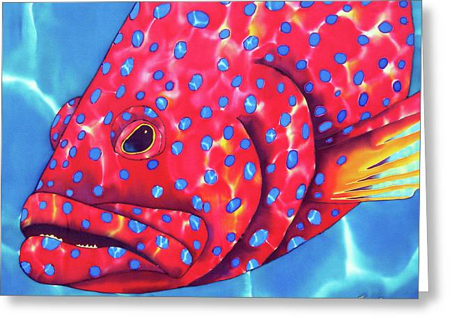 Blue Spotted Red Coral Grouper Fish Greeting Card by Daniel Jean-Baptiste