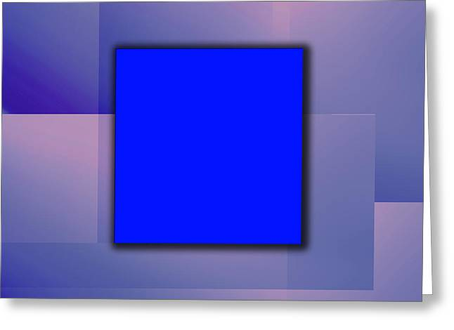 Blue Square Greeting Card by Christian Simonian