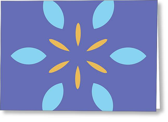 Mini Mandala Blue Square Yellow Abstract Flower Greeting Card by Pablo Franchi