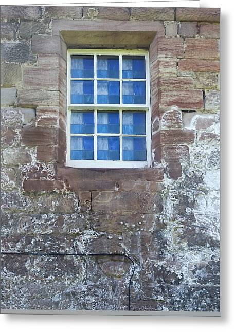 Blue Squares In The Castle Window Greeting Card by Christi Kraft