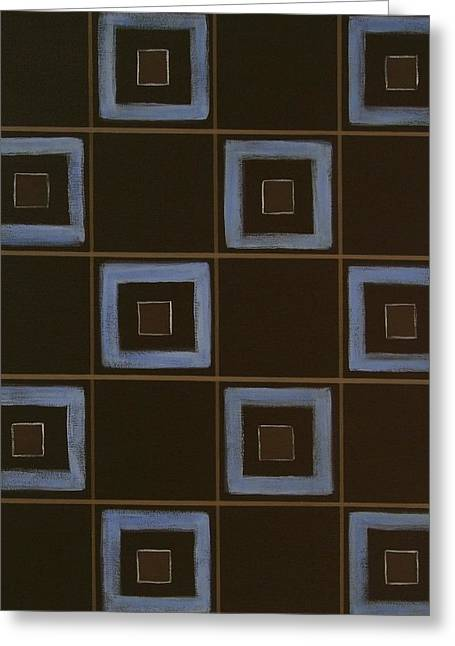 Blue Squares Greeting Card by Sandy Bostelman