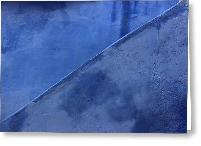 Greeting Card featuring the photograph Blue Stairs In Profile by Ramona Johnston